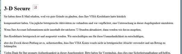 Warnung: Phishing-E-Mails (angeblich von VISA)