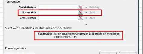 Matrix-Problem bei der Funktion VERGLEICH